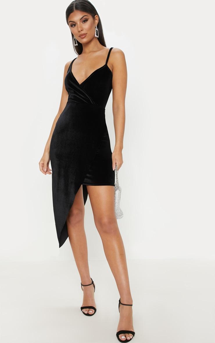 5899142d1ccda Black Velvet Draped Midi Dress | Dresses | PrettyLittleThing AUS