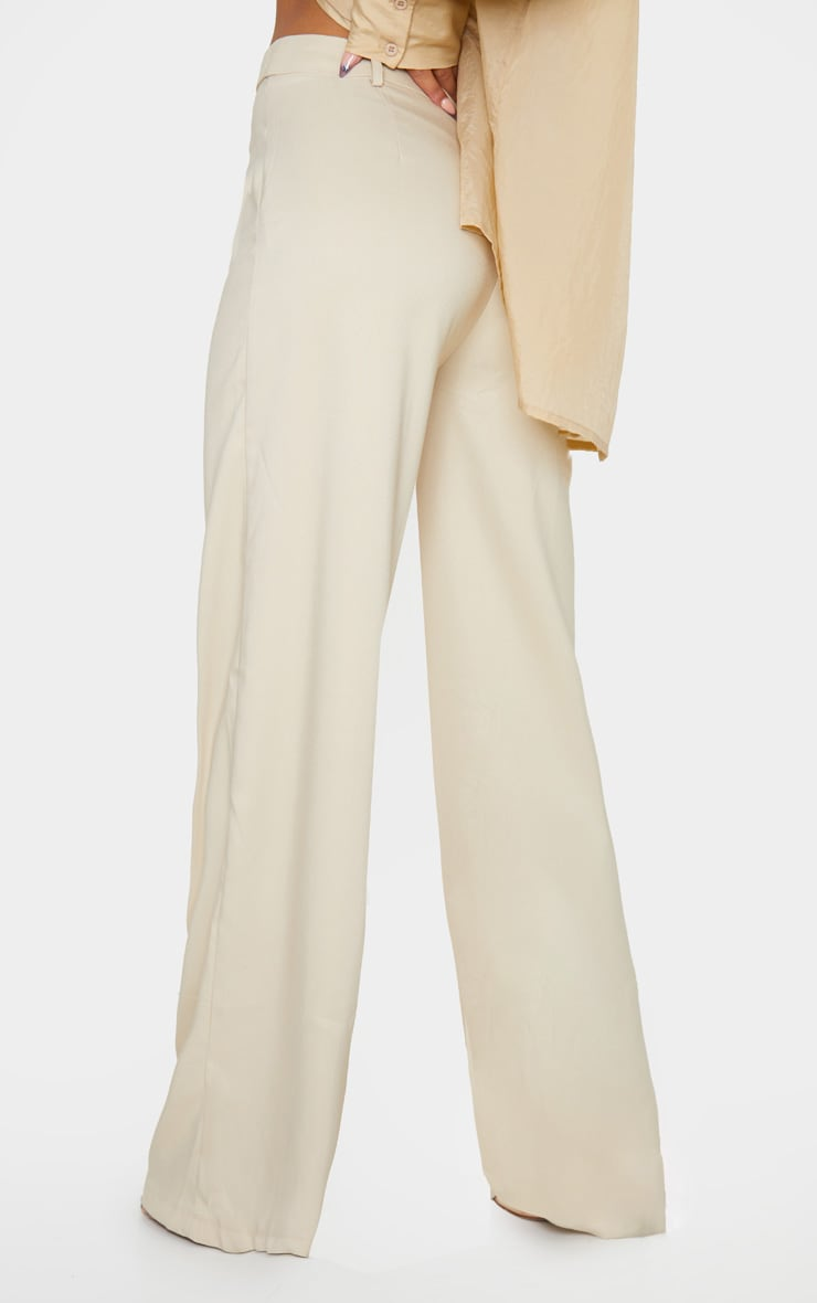 Stone Wide Leg Woven Trousers 3