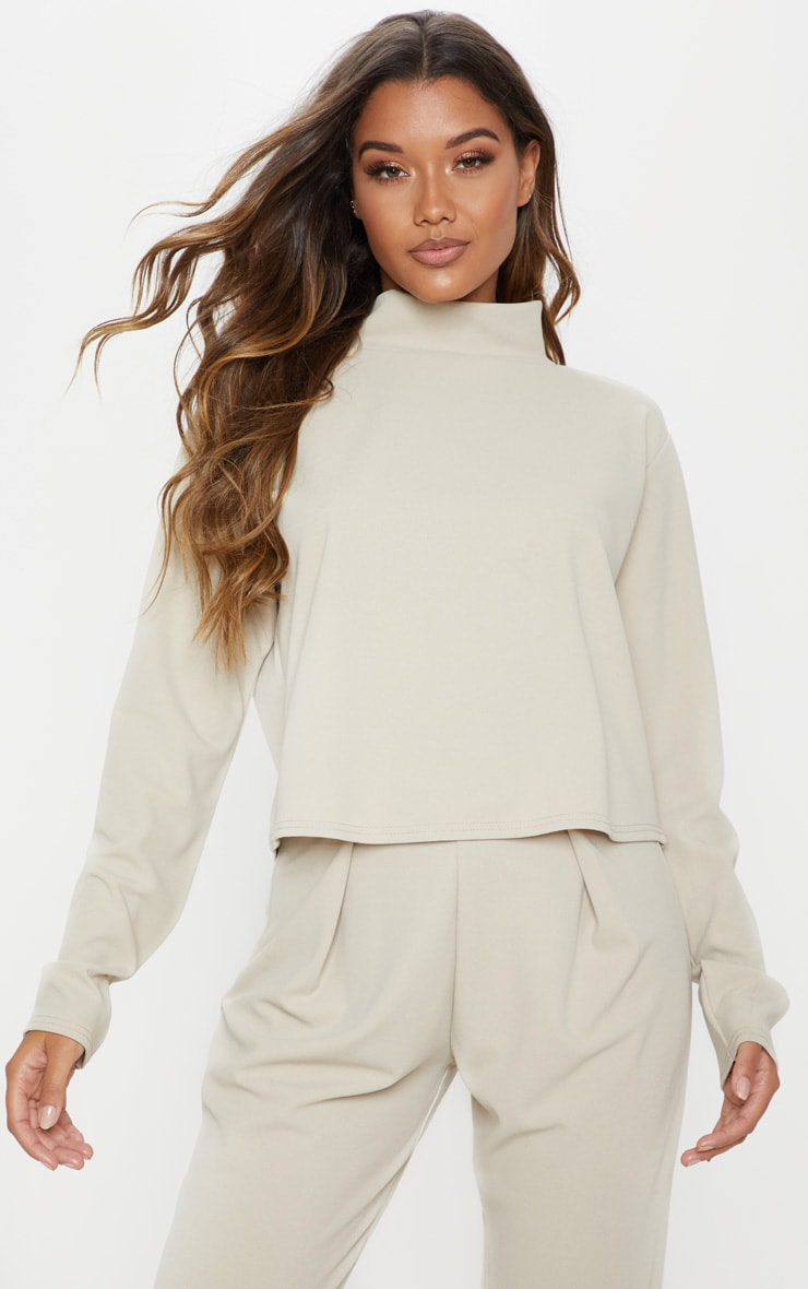 Stone High Neck Long Sleeve Sweater 1