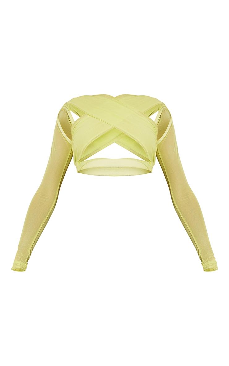 Lime Mesh Underbust Long Sleeve Crop Top 5