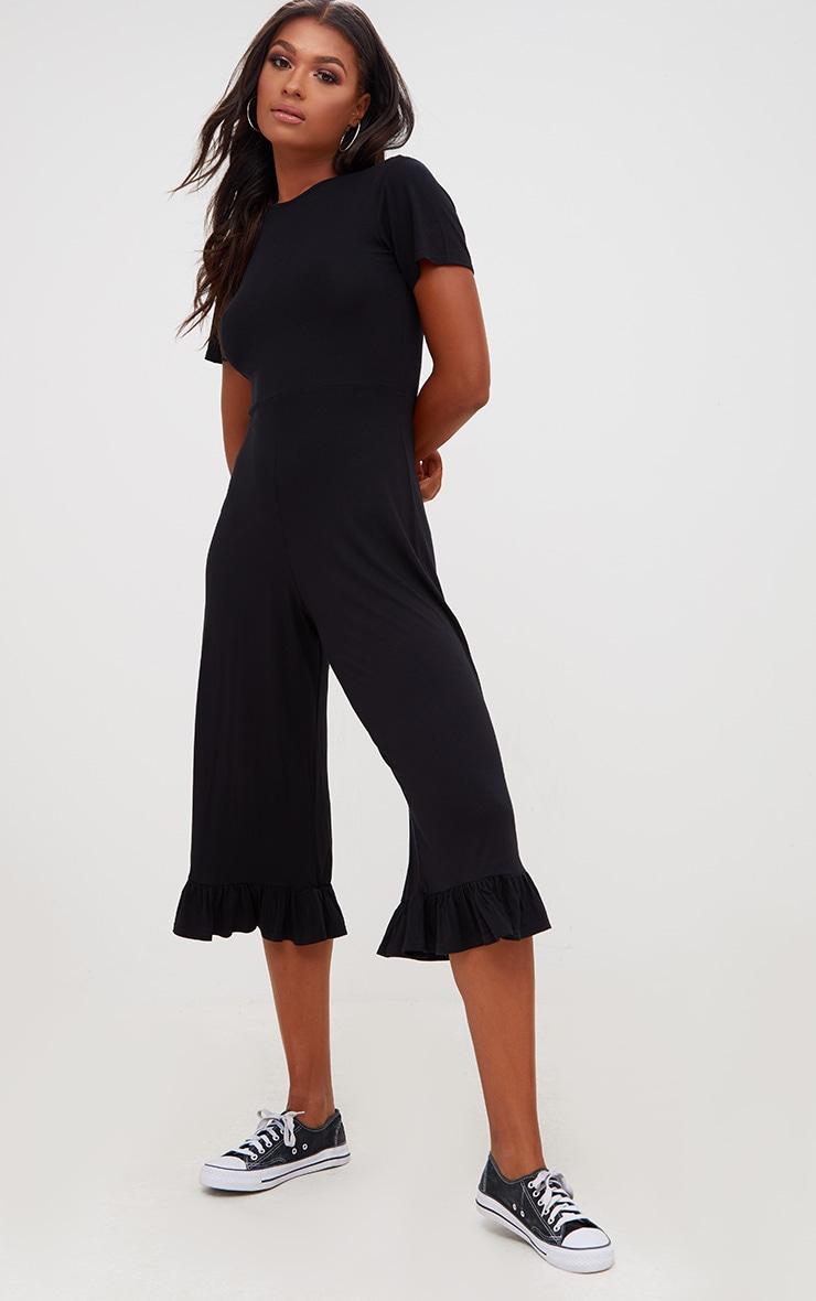 Black Jersey Short Sleeve Frill Hem Culotte Jumpsuit 1
