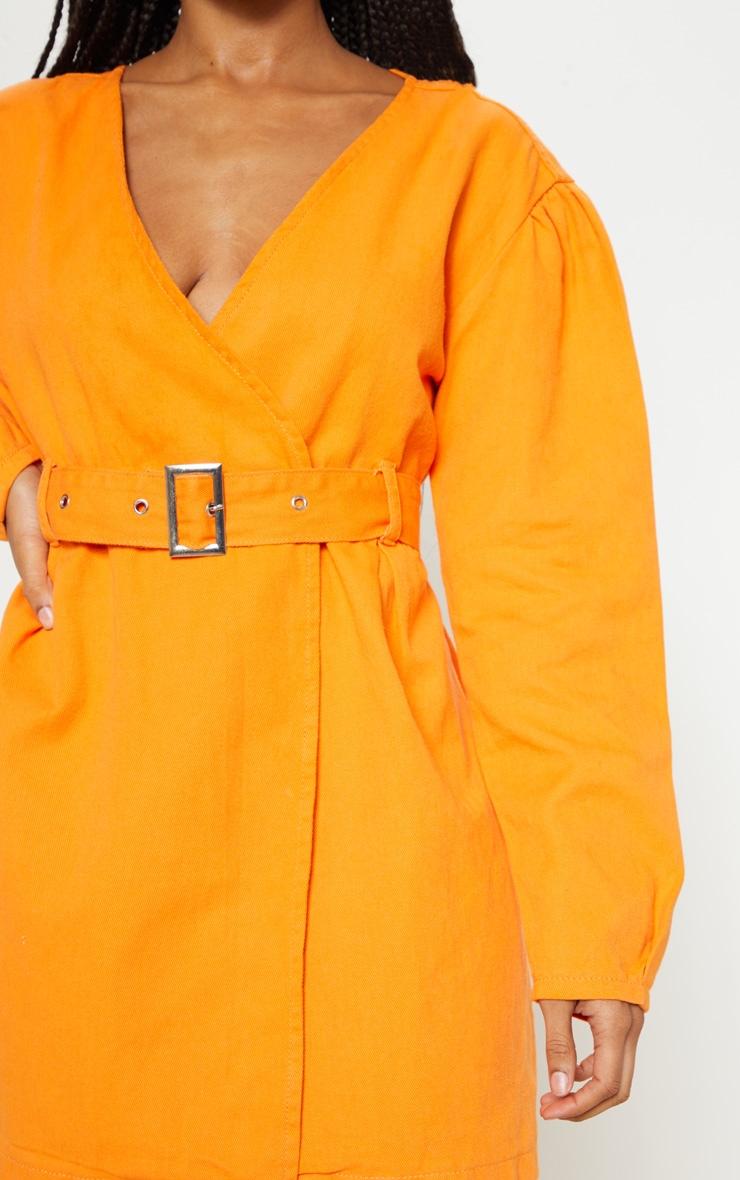 Bright Orange Belted Wrapover Denim Dress 5