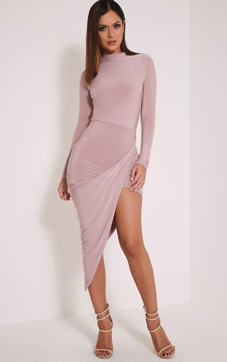 Saffy Mauve Slinky Drape Asymmetric Dress 1