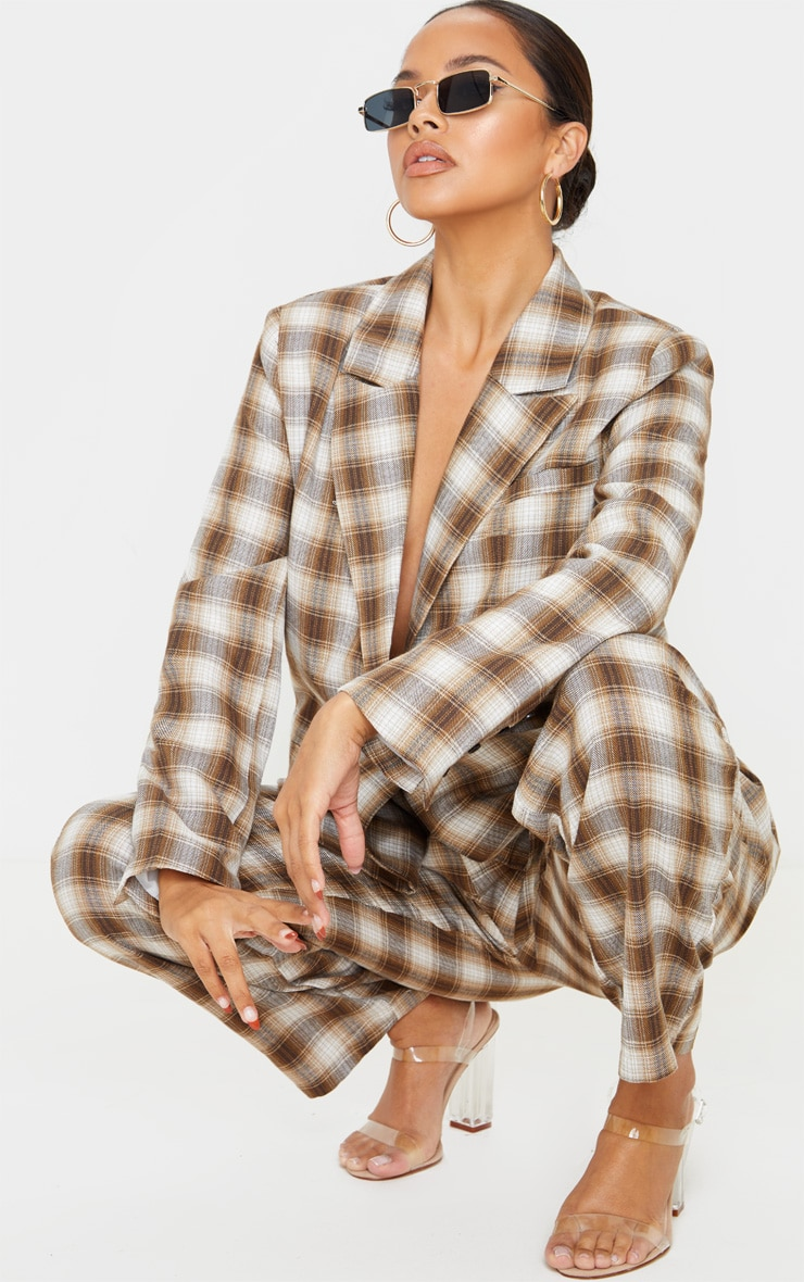 Brown Check Oversized Dad Woven Blazer 4