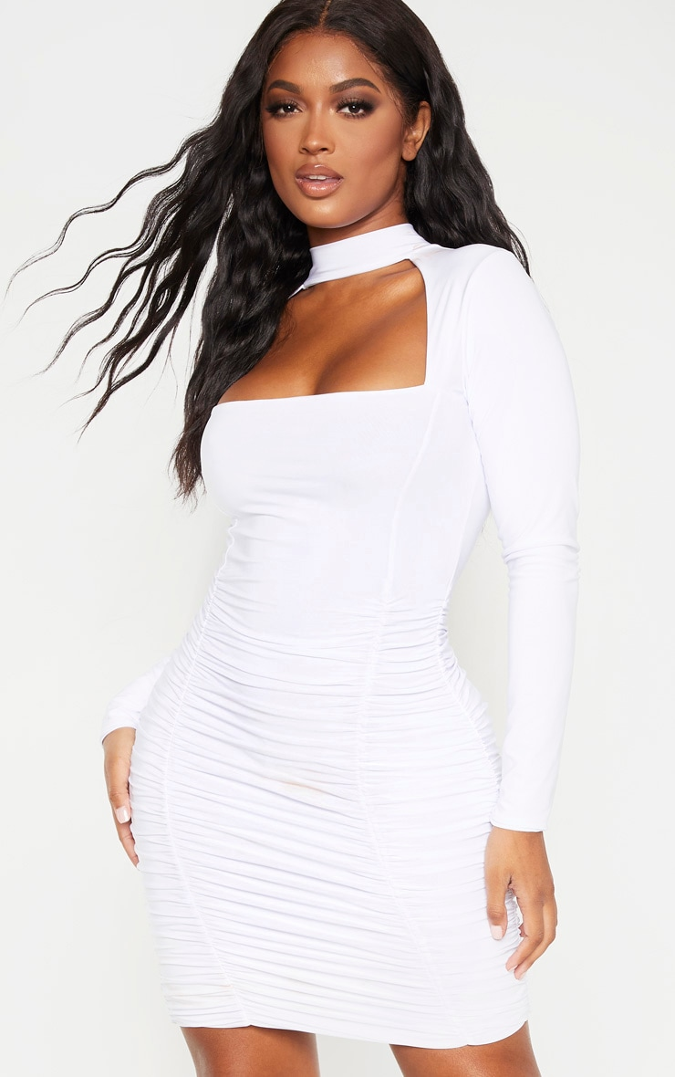Shape White Long Sleeve Cut Out Ruched Bodycon Dress 1
