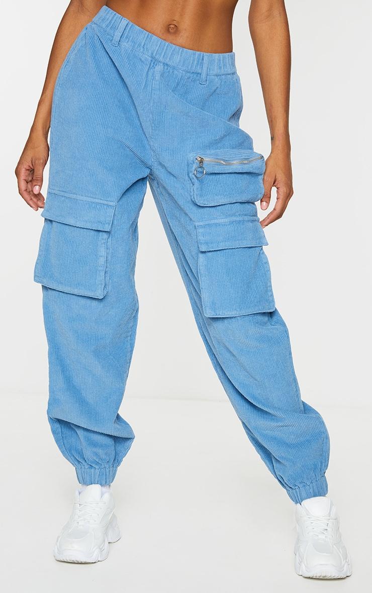 Blue Velour Cord Cargo Pants 2