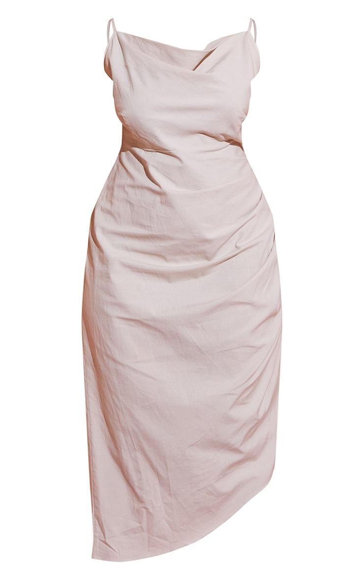 Plus Stone Woven Cowl Neck Midi Dress 5