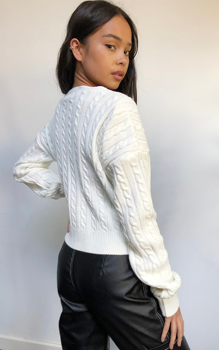 Cream All Over Cable Knitted Cropped Cardigan 2