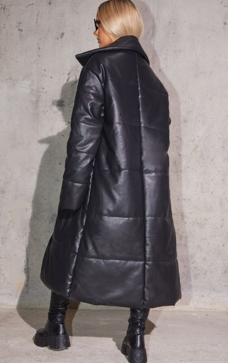 Black Faux Leather Padded Panel Maxi Puffer 2