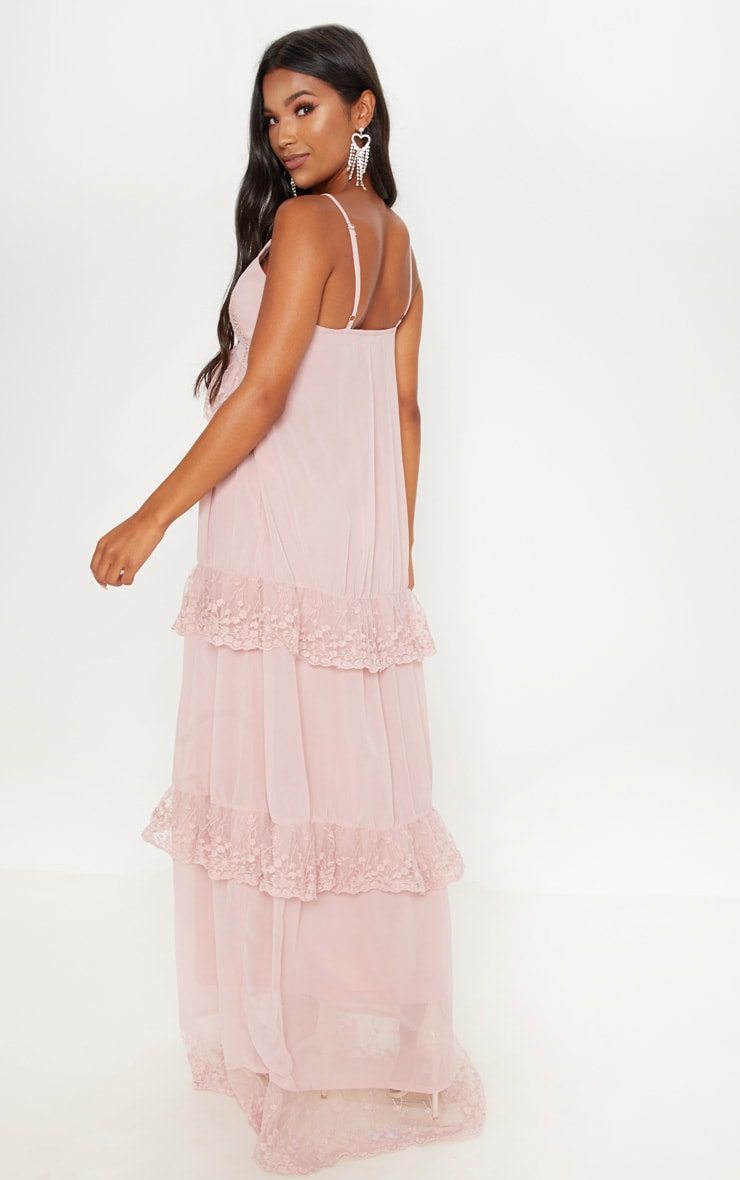 Dusty Pink Lace Frill Detail Maxi Dress 2