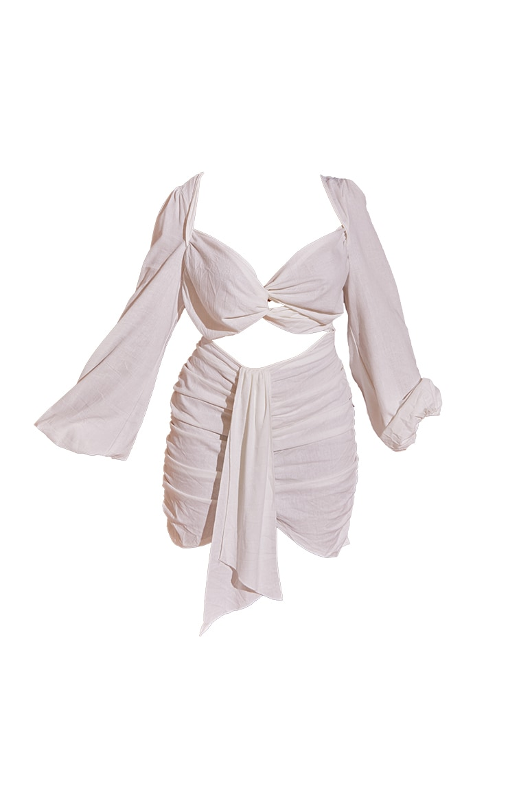 Plus White Cut Out Ruched Balloon Sleeve Bodycon Dress 5