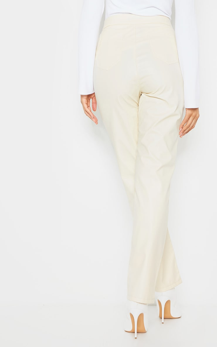 Cream Faux Leather Pintuck Detail Straight Leg Trousers 3