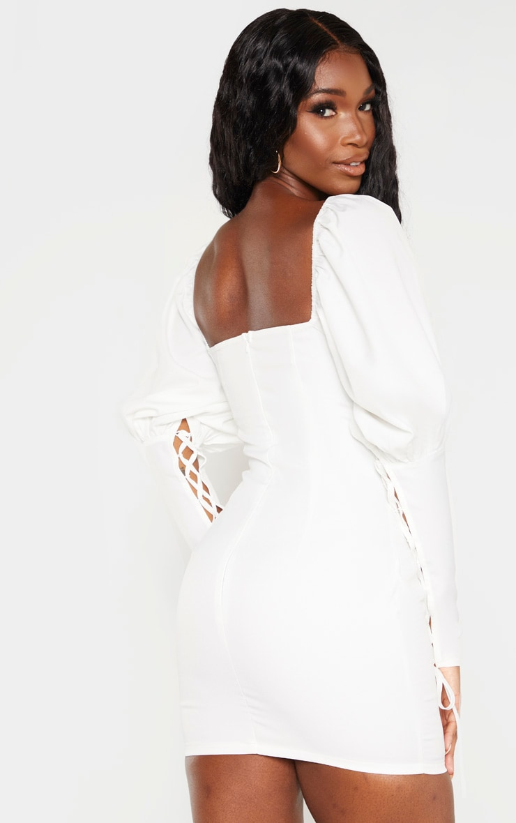 White Puff Sleeve Lace Up Bodycon Dress 2