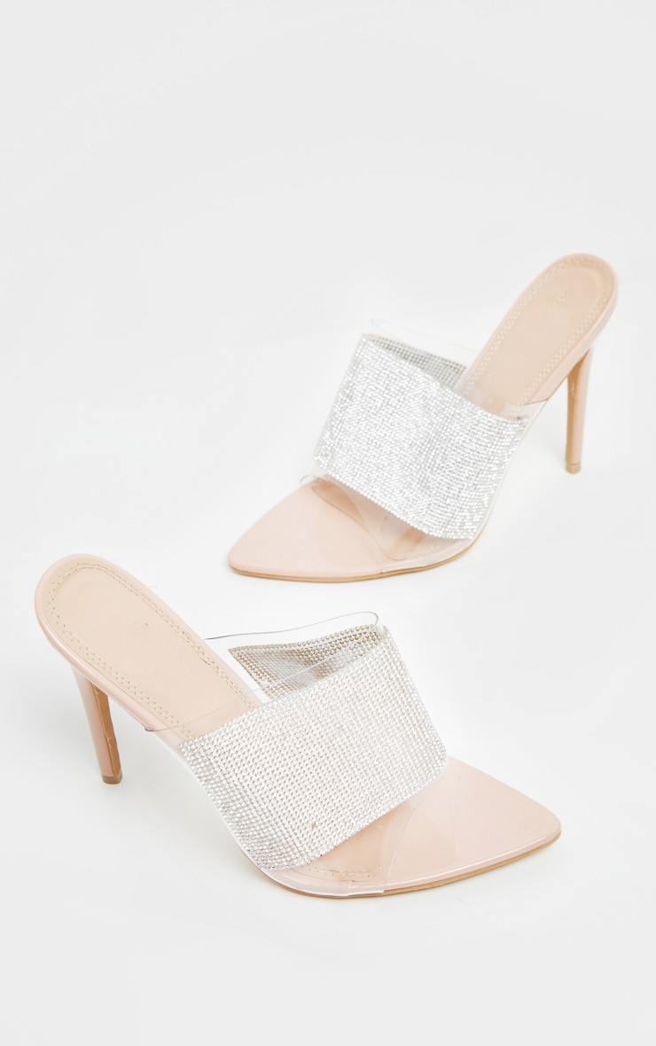 Silver Diamante Point Toe Mule 3