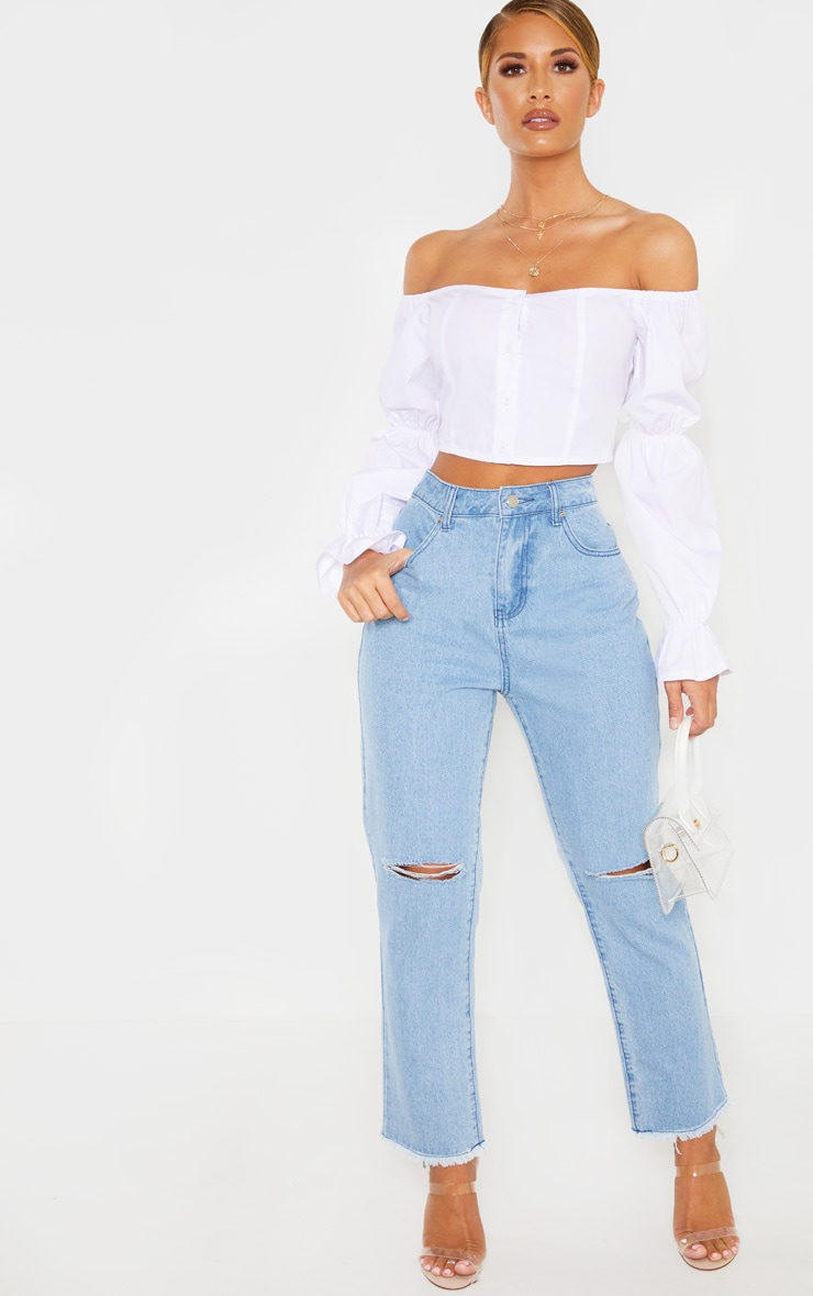 White Button Front Bardot Puff Long Sleeve Crop Top 4