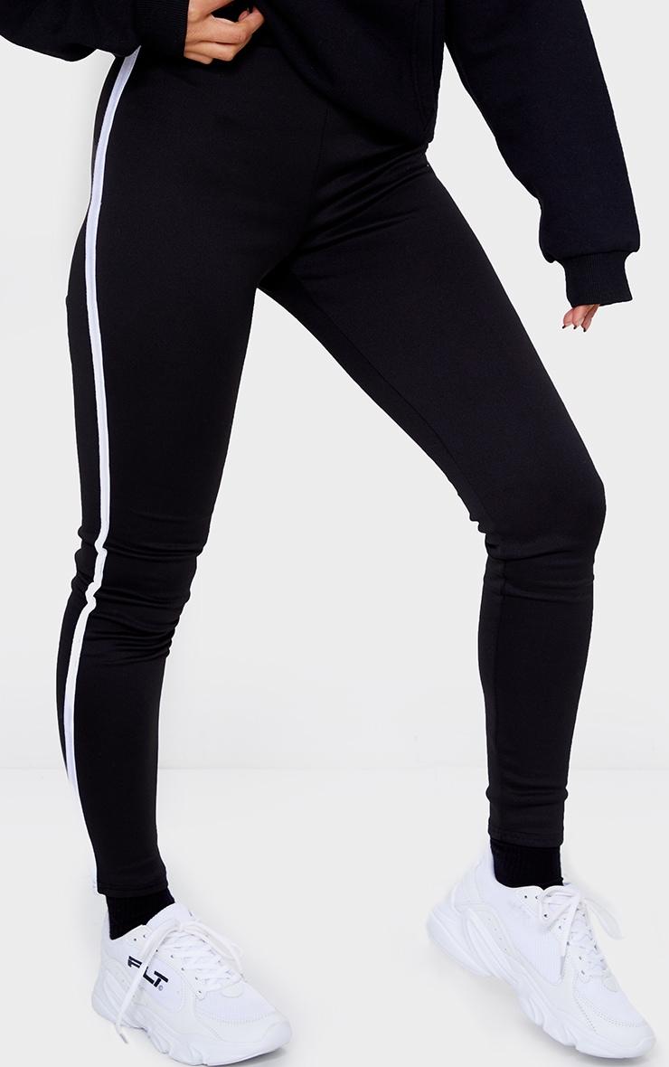 Black Scuba Binding Detail Leggings 2