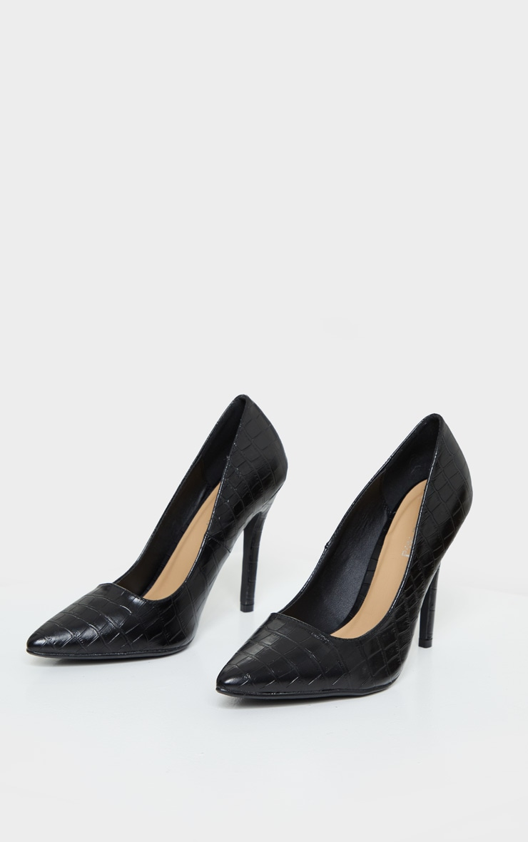 Black Wide Fit Croc Pointed Toe Stiletto Heel Court Shoes 3