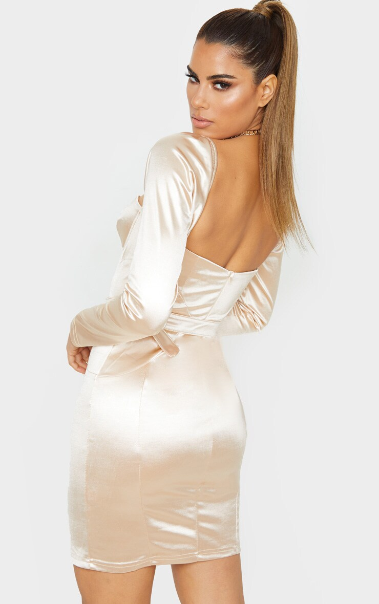 Tall Champagne Long Sleeve Satin Cup Detail Belted Mini Dress  2