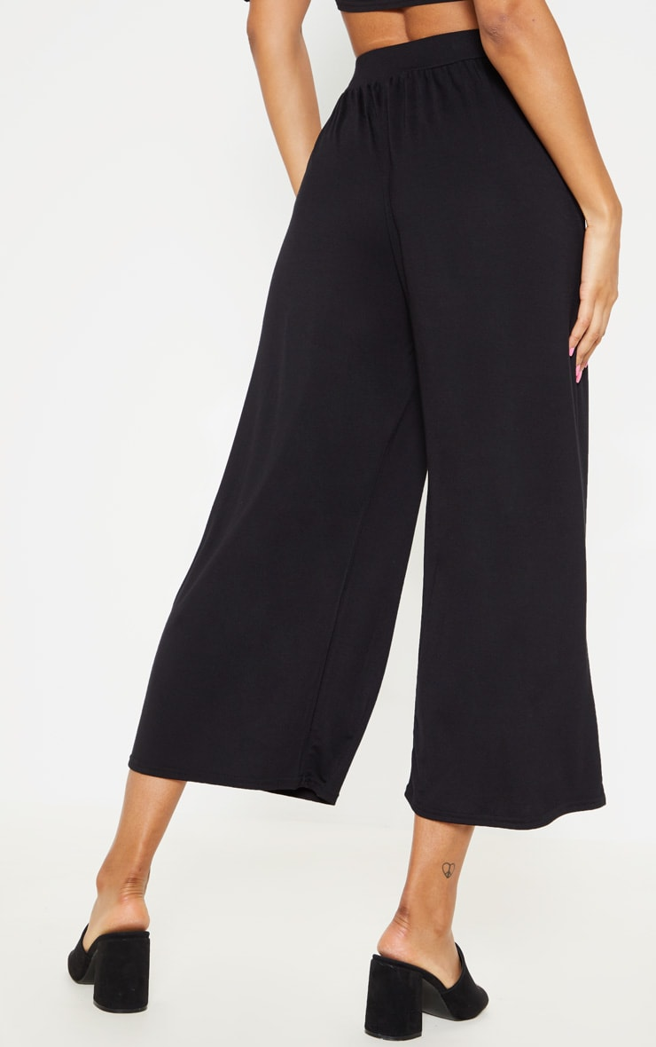 Black Gathered Waist Tie Detail Wide Leg Culotte 4