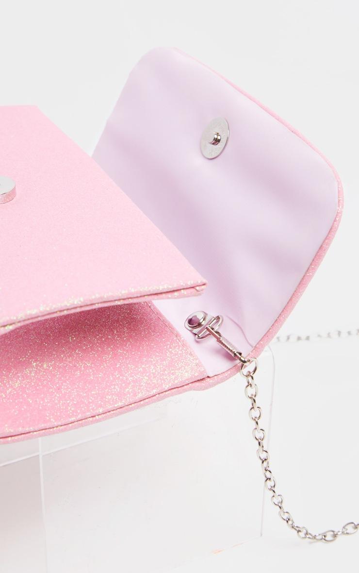 Pink Fabric Glitter Medium Clutch Bag 4