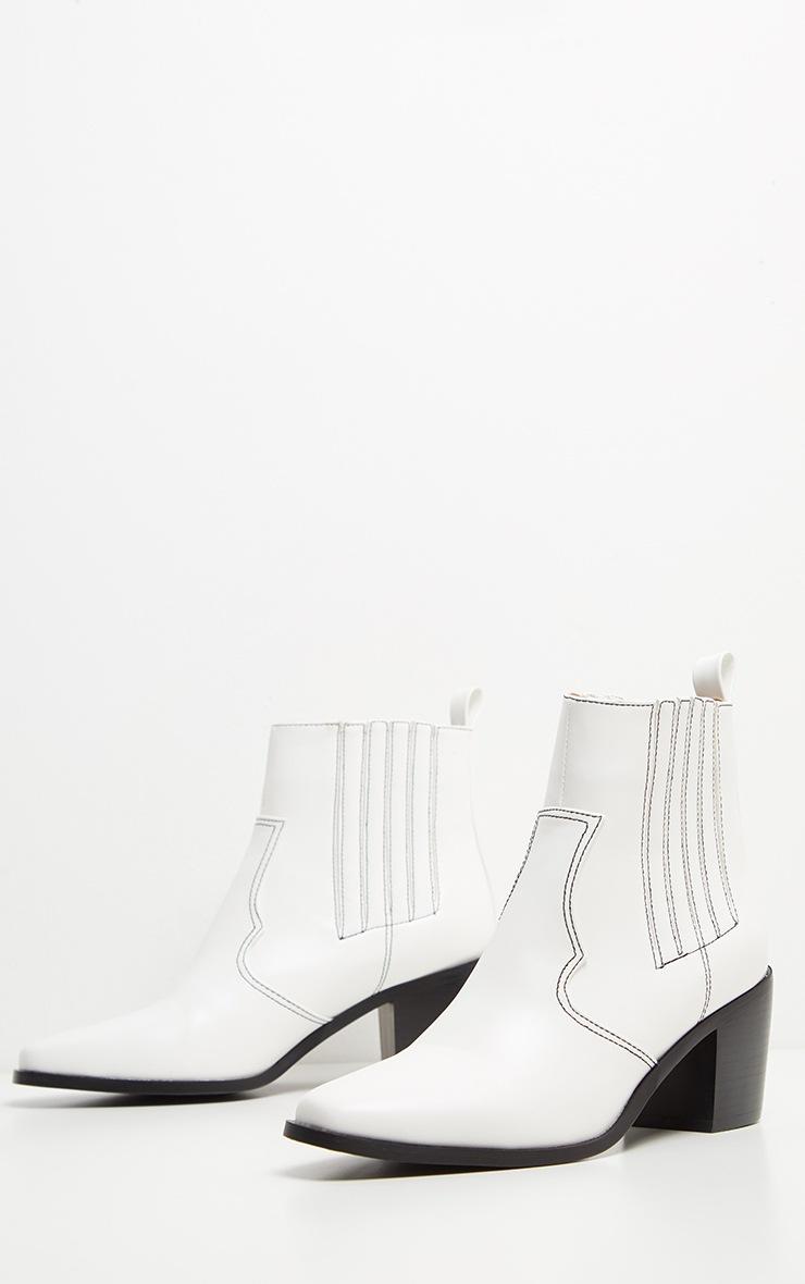 White Contrast Stitch Square Toe Western Boot 3