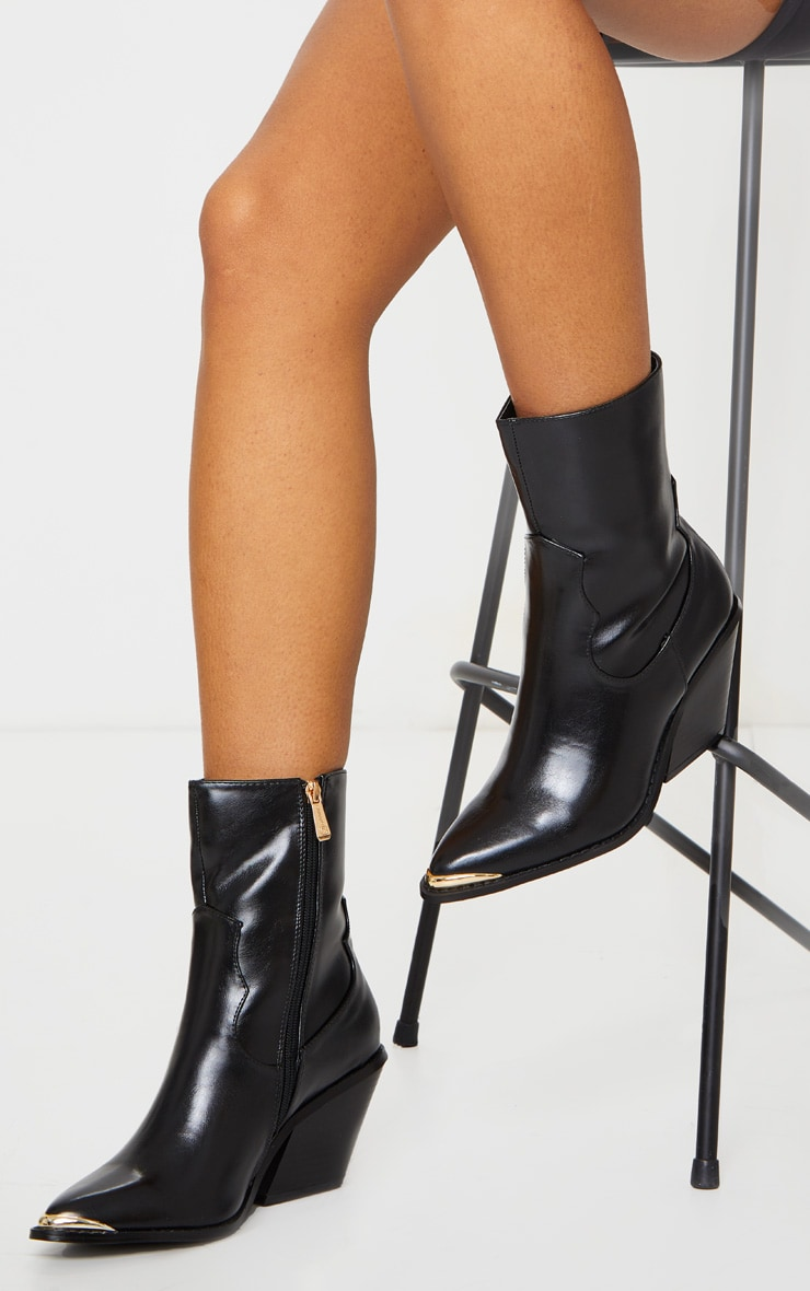 Black PU Metal Toe Ankle Western Boots 2
