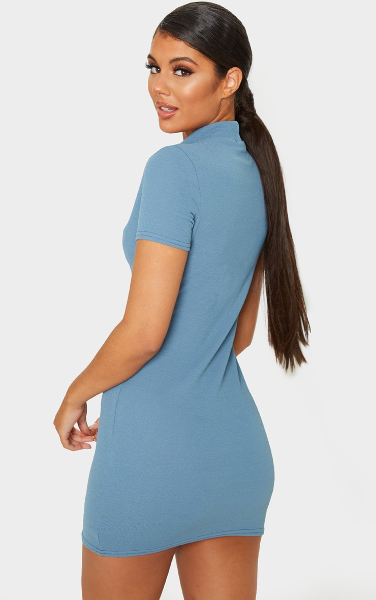 Blue Short Sleeve Key Hole Cut Out Bodycon Dress 2