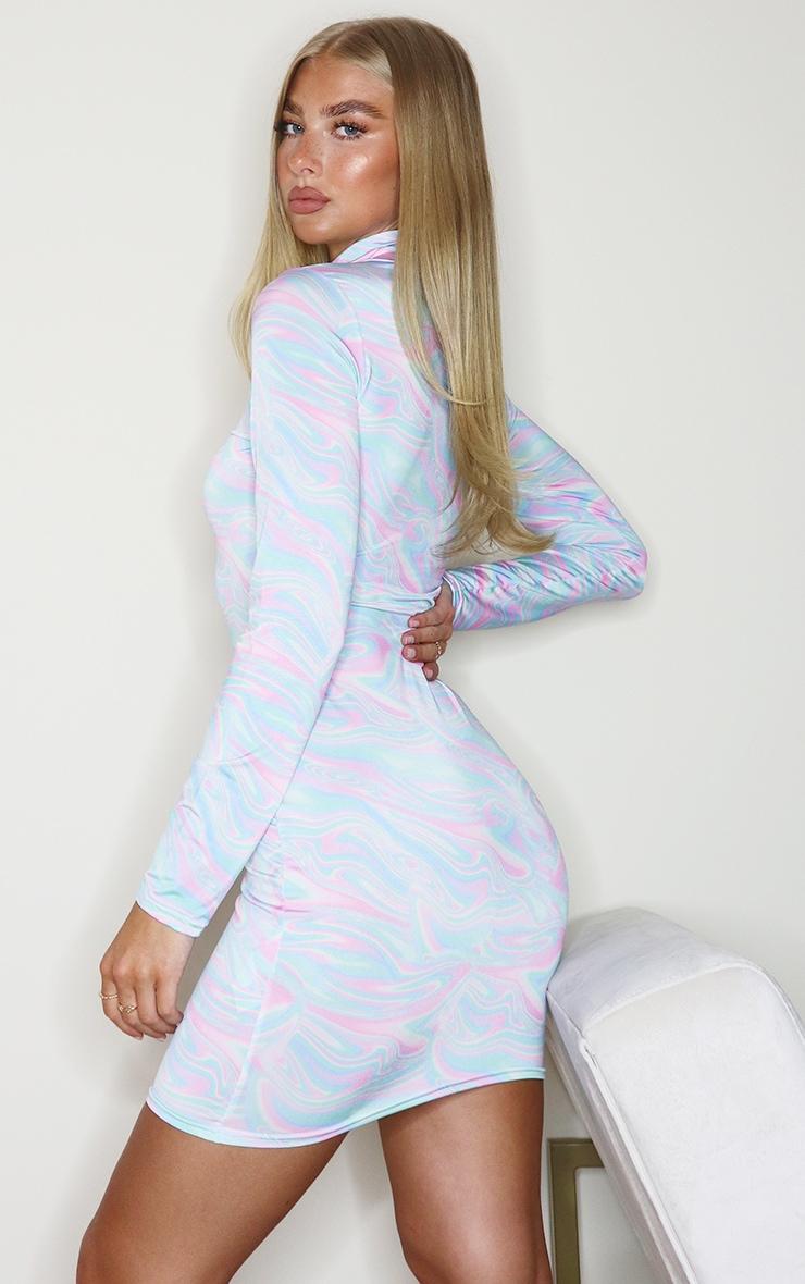 Multi Marble Print High Neck Slinky Long Sleeve Bodycon Dress 2