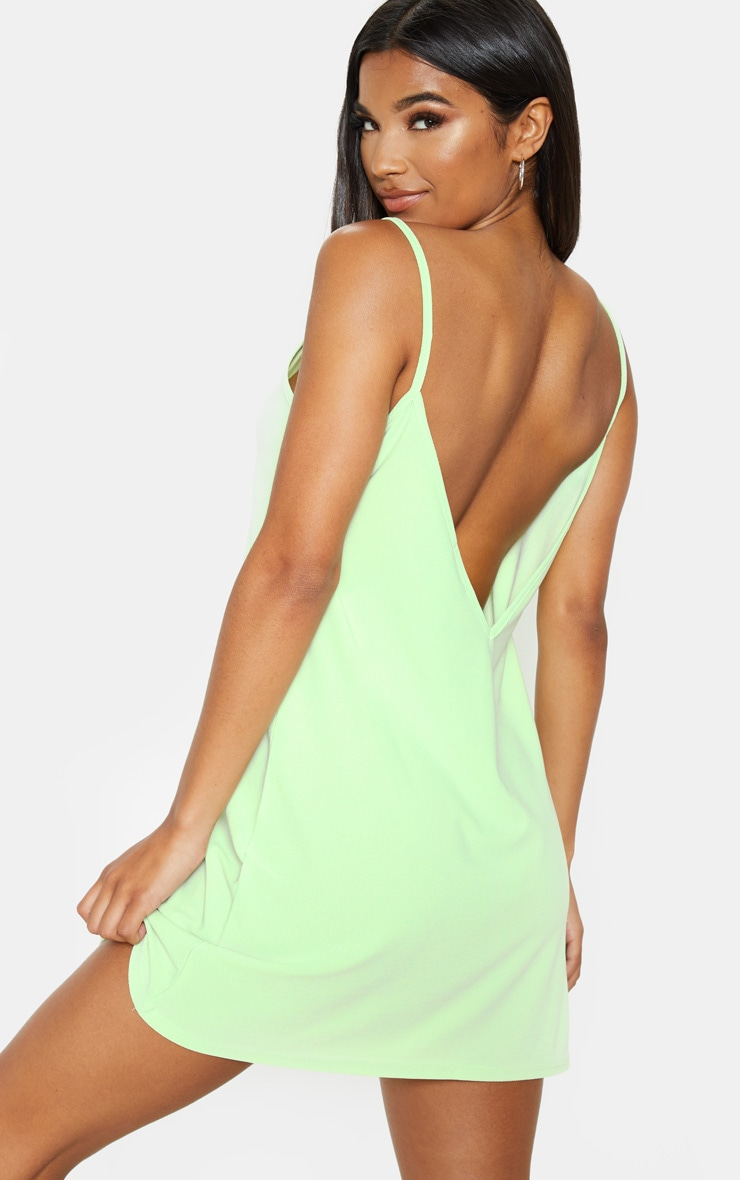 Pale Lime Strappy Detail Backless Cami Dress 1