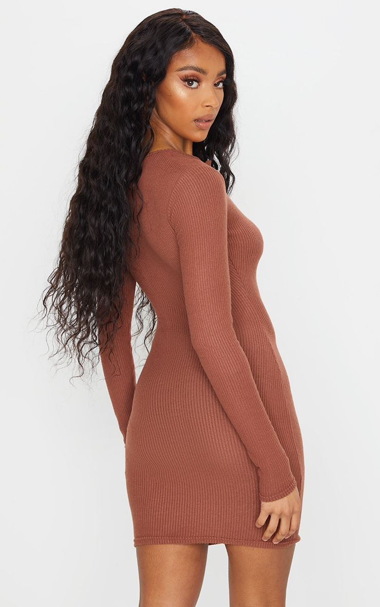 Chocolate Brushed Rib Long Sleeve Bodycon Dress 2