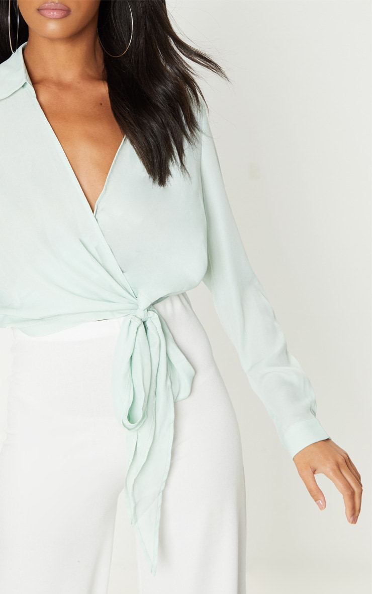 Mint Wrap Front Tie Side Blouse 5
