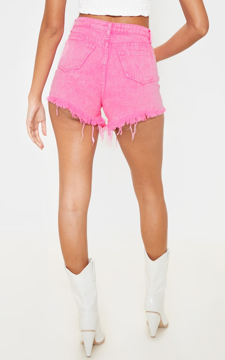 Neon Pink Distressed Mom Shorts 4