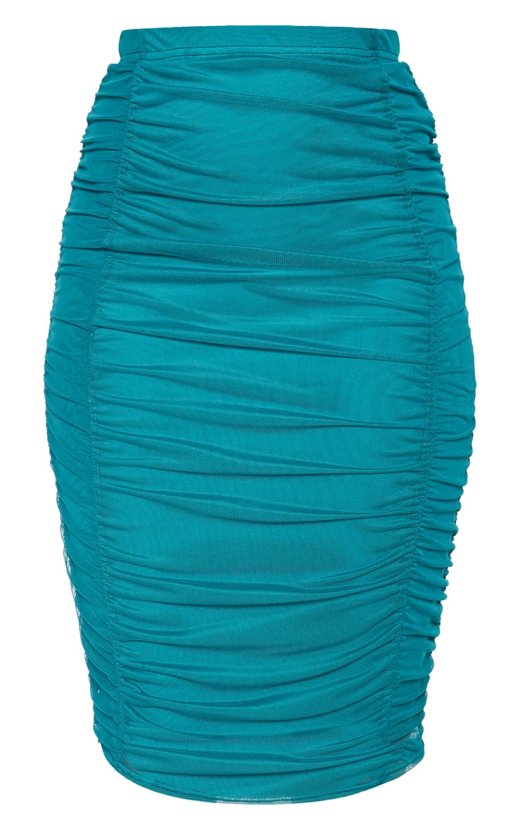 Emerald Green Second Skin Ruched Mesh Midi Skirt 3