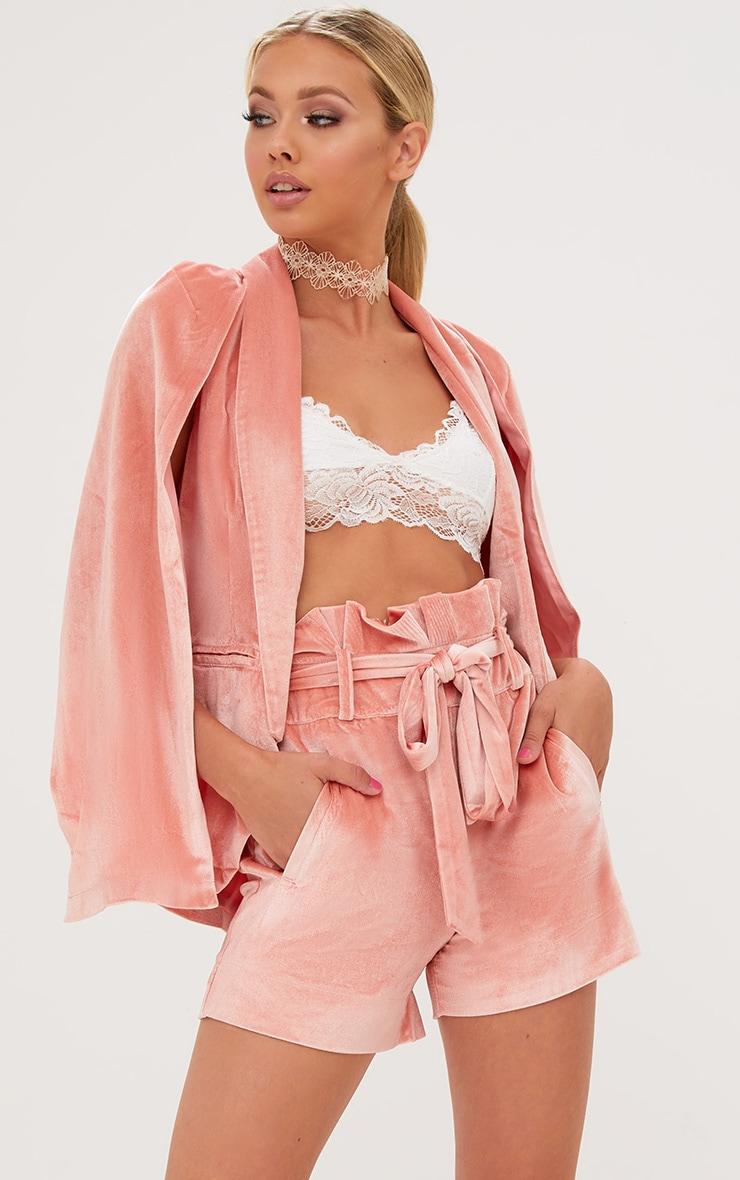 Pink Velvet Paperbag Shorts 1