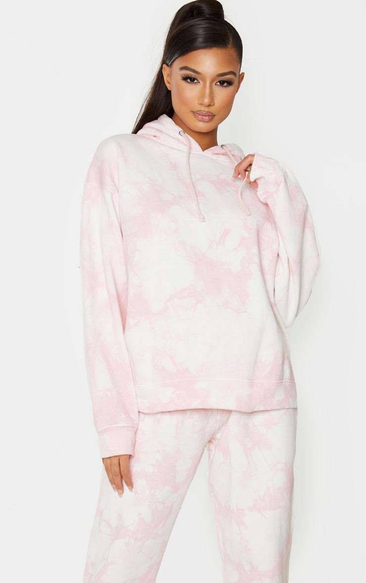 Light Pink Tie Dye Oversized Hoodie 1