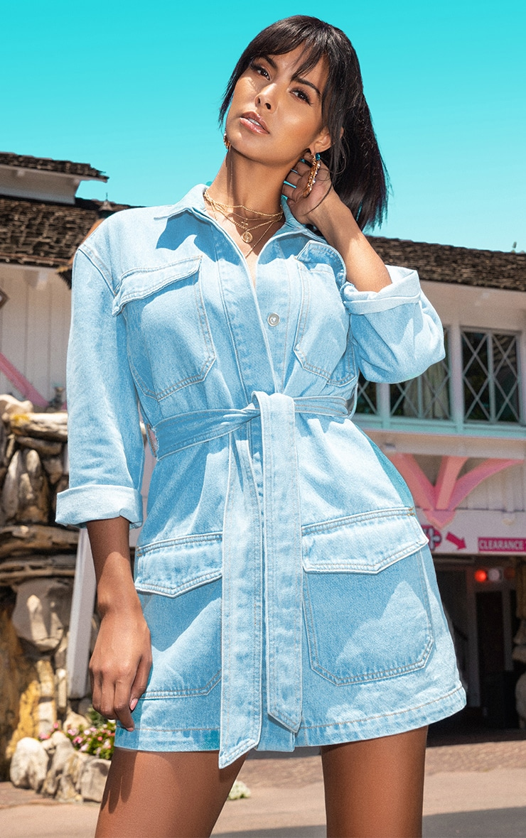Mid Wash Denim Button Up Tie Detail Shirt Dress 1