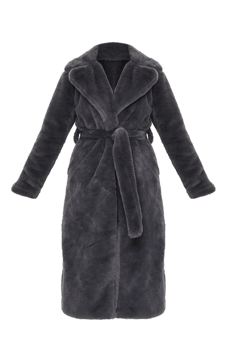 Petite Grey Belted Faux Fur Coat 5