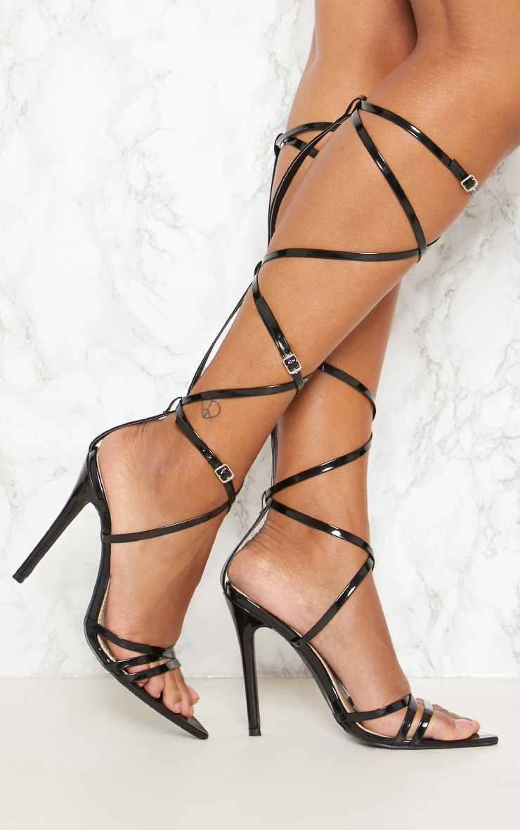 Black Extreme Gladiator Point Heels 1