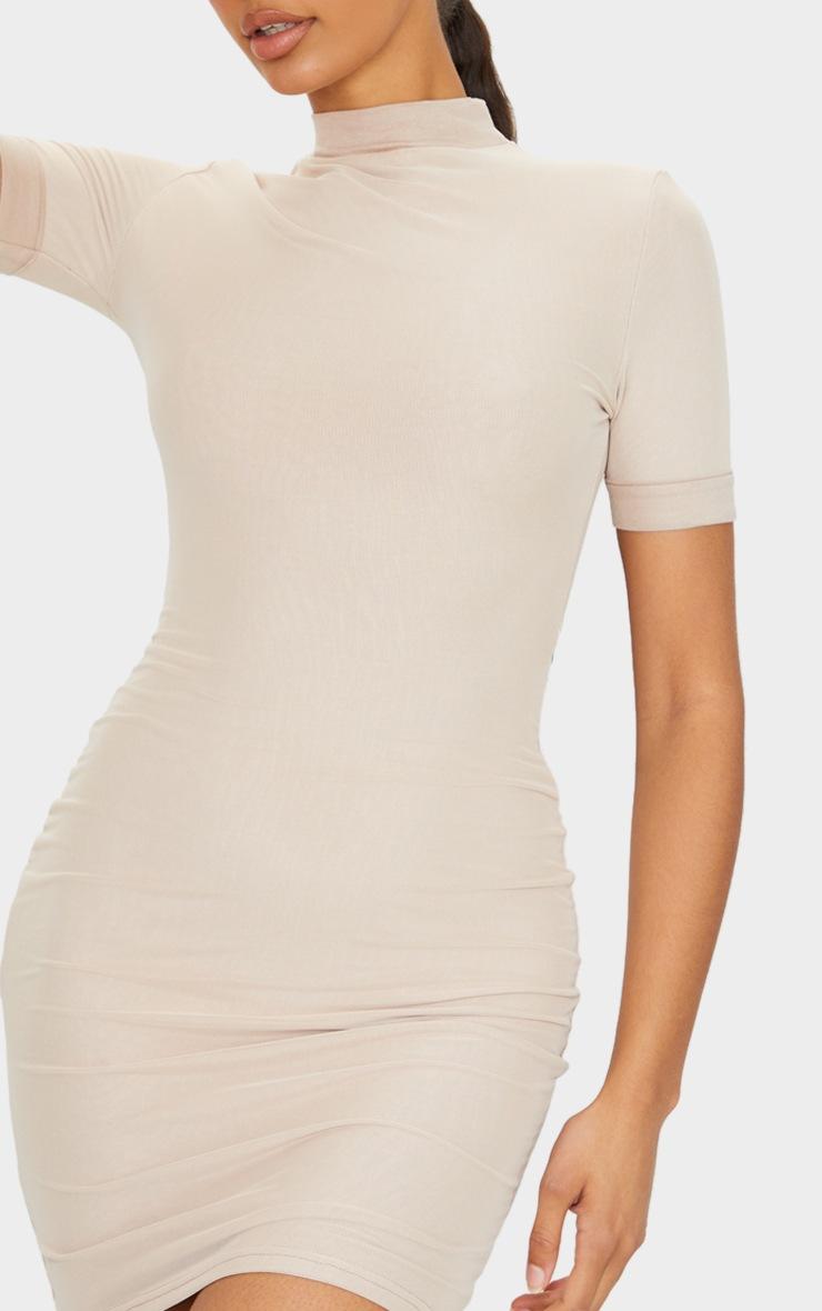 Stone Power Mesh Short Sleeve Bodycon Dress 4