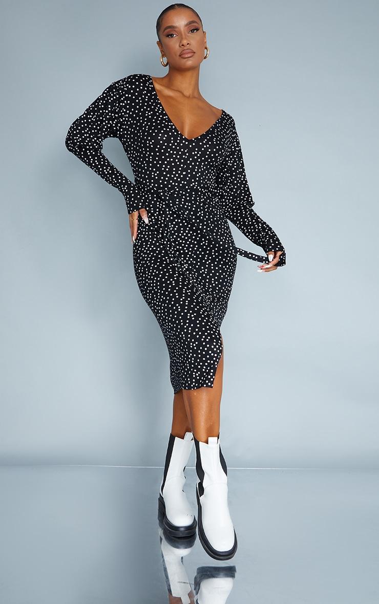 Black Polka Dot Print Tie Waist Split Hem Long Sleeve Midaxi Dress 1