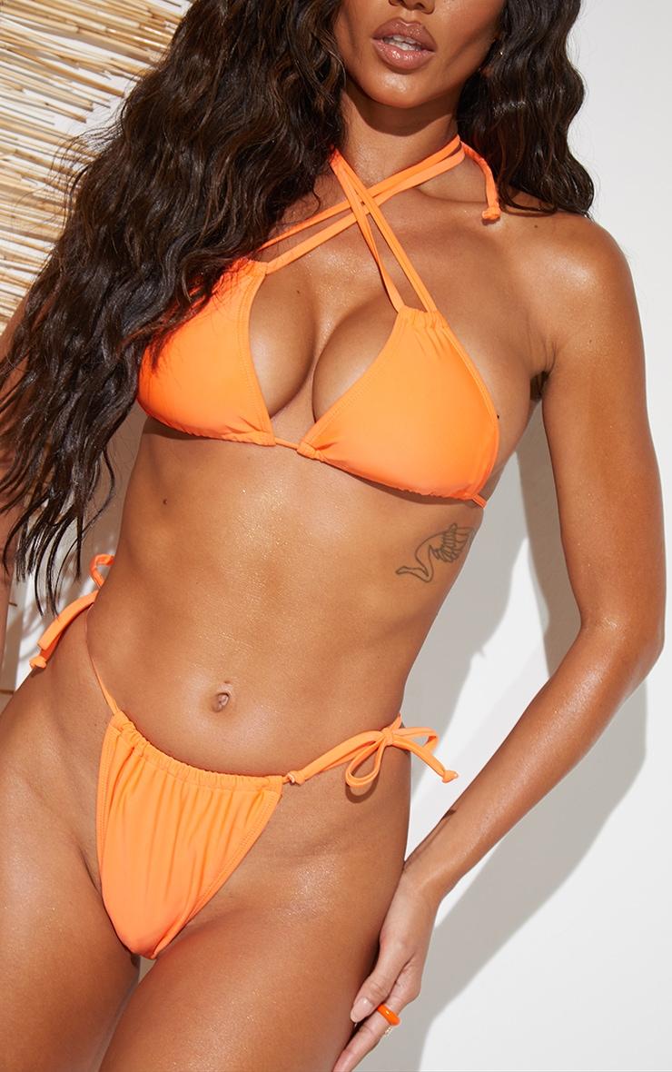 Recycled Orange Mix & Match Halterneck Mini Ruched Triangle Bikini Top 4