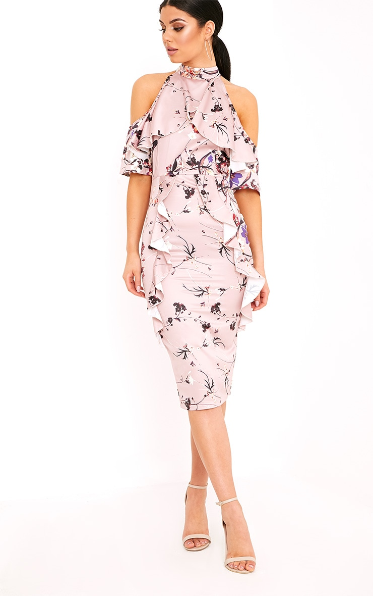 Esmie Blush Floral Cold Shoulder Midi Dress 4