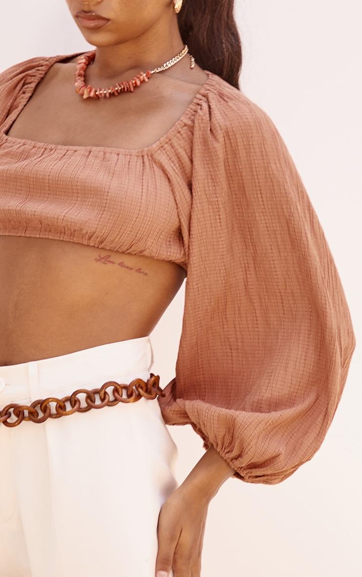 Chestnut Linen Look Pleated Oversized Crop Top 4