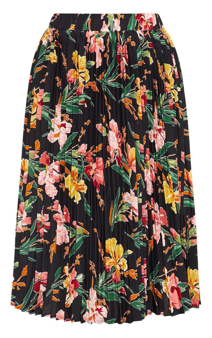 Black Floral Printed Pleated Midi Skirt 3