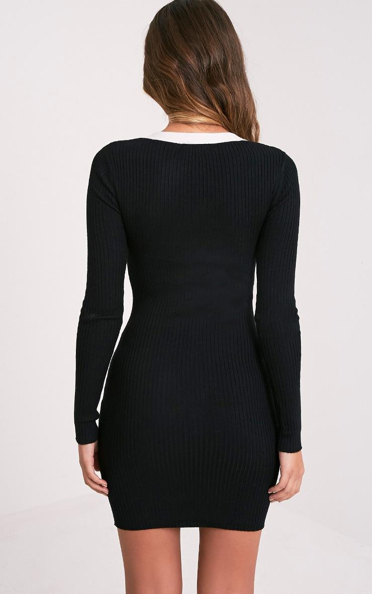 Pandra robe mini côtelée à lien à œillet noire 2