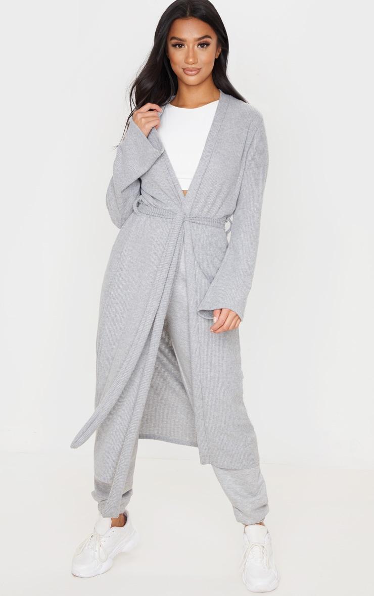 Petite Grey Brushed Rib Wrap Midaxi Cardigan 1