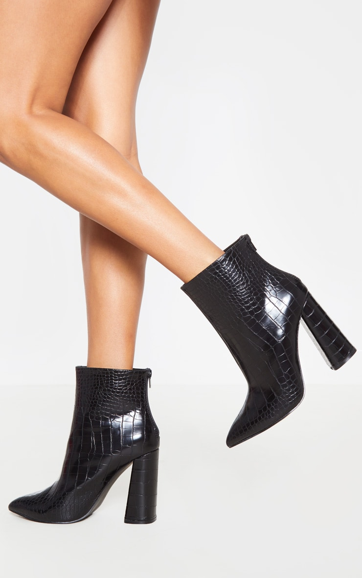 Black Croc Wide Fit Block Heel High Ankle Boot 2