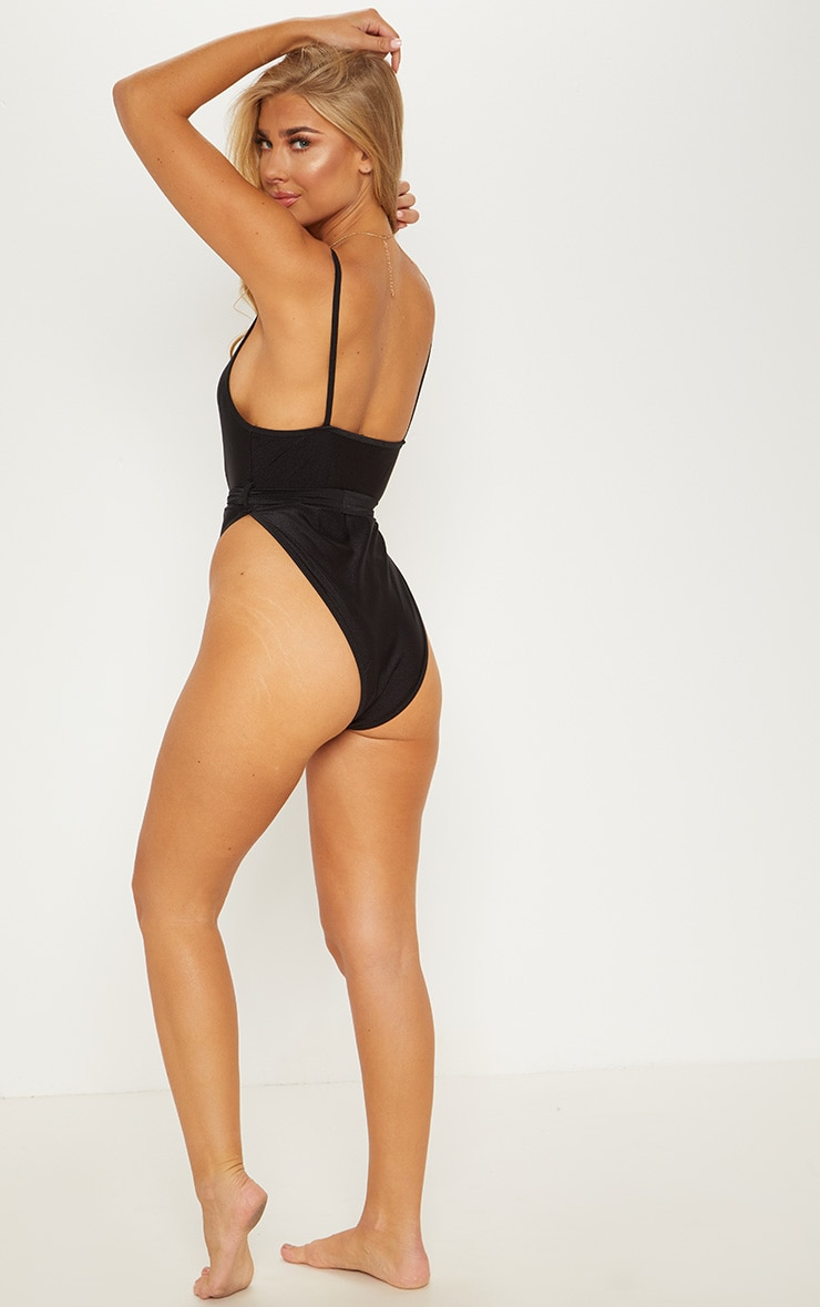 Black Tie Waist Belted Swimsuit 2