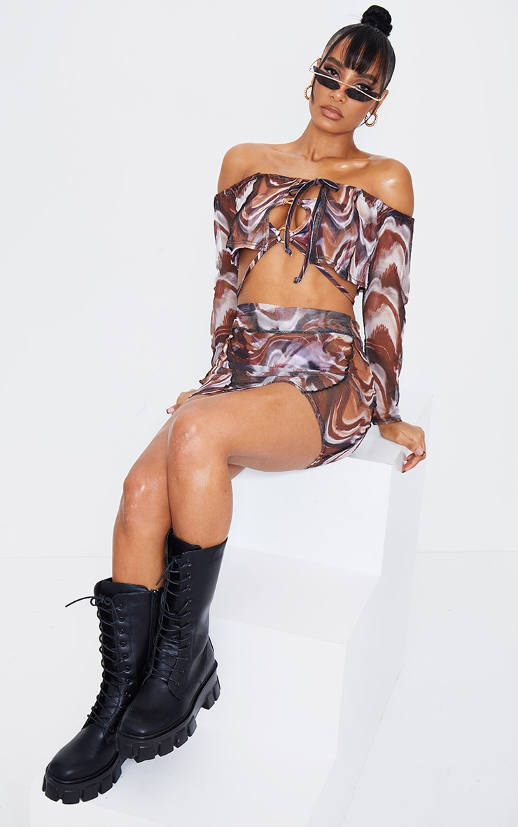 Brown Marble Print Stitch Tie Front Mesh Top 4