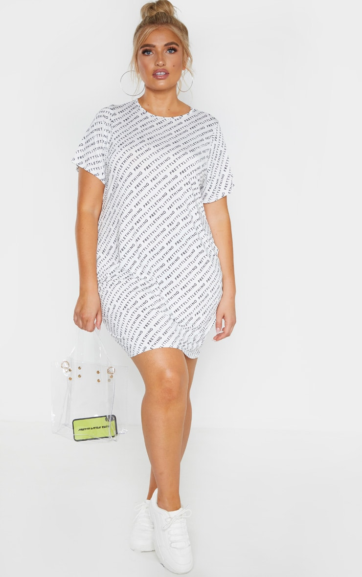 PRETTYLITTLETHING Plus White Oversized T-Shirt Dress  4